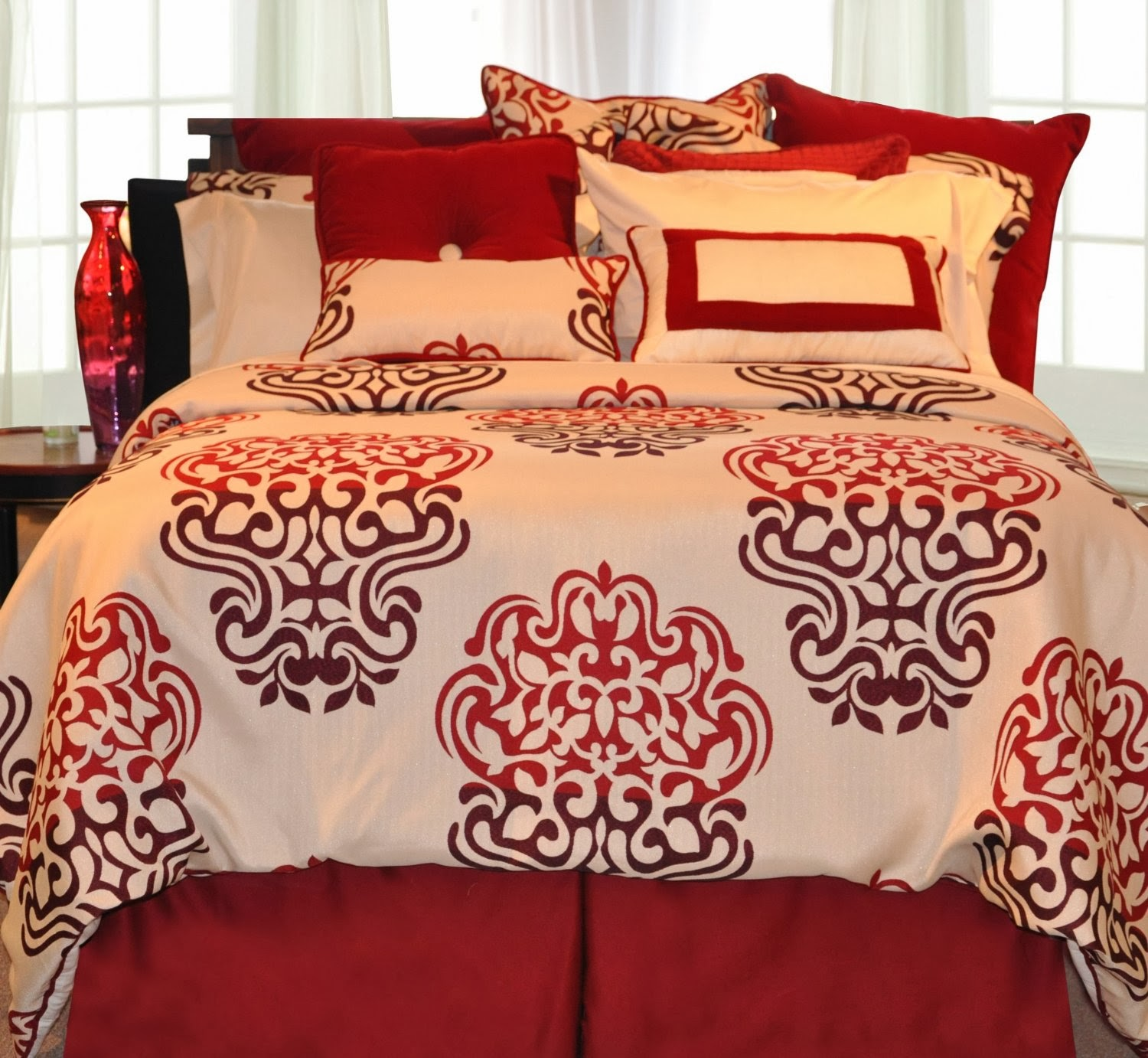 Pointehaven Printed 300 TC 3-Piece 100-Percent Combed Cotton Duvet Set, Cherry Blossom, King
