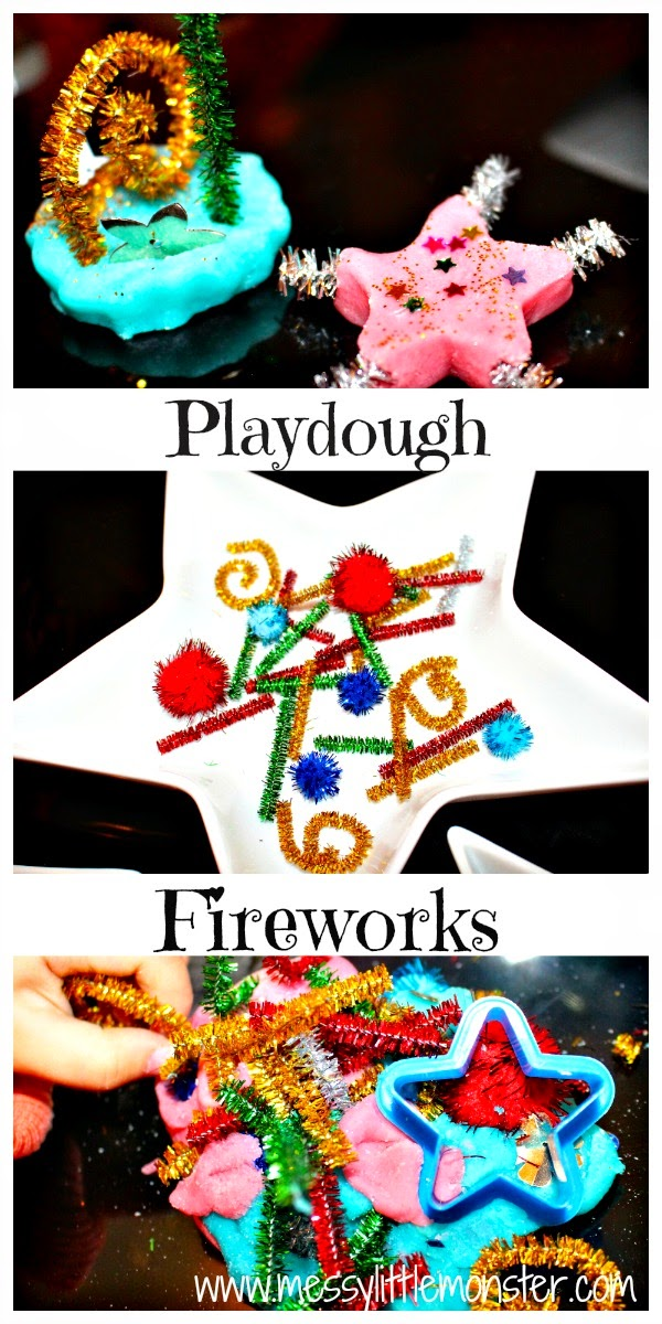 Playdough firework activity for toddlers and preschoolers. Great bonfire night or new years eve kids activity idea.