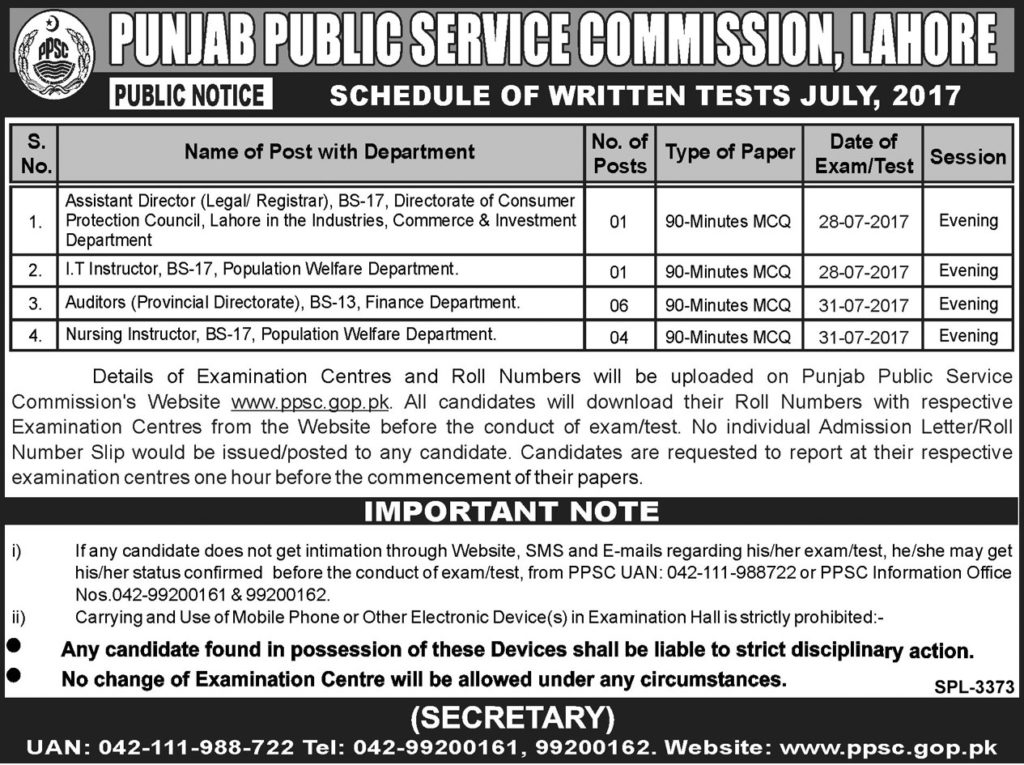 Jobs in Punjab Public Service Commission Lahore 26 July 2017.