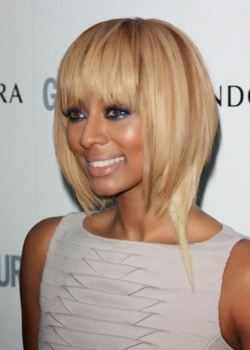 Keri Hilson African American Asymmetrical Bob With Bangs Hairstyle Haircut