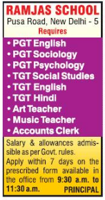 Ramjas School, New Delhi, Wanted Teachers PGT / TGT - Faculty Teachers