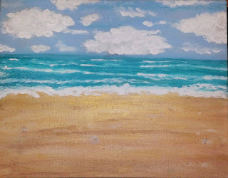 fun at the beach, beach vacation art, melissa powell, melissa osborne, orignal painting, original art,