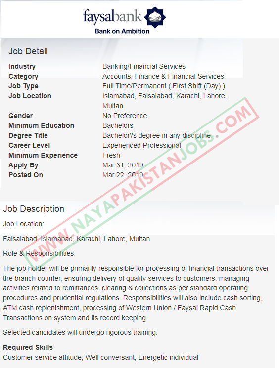 Trainee Branch Services Officer faysal bank jobs, jobs in faysal bank 2019