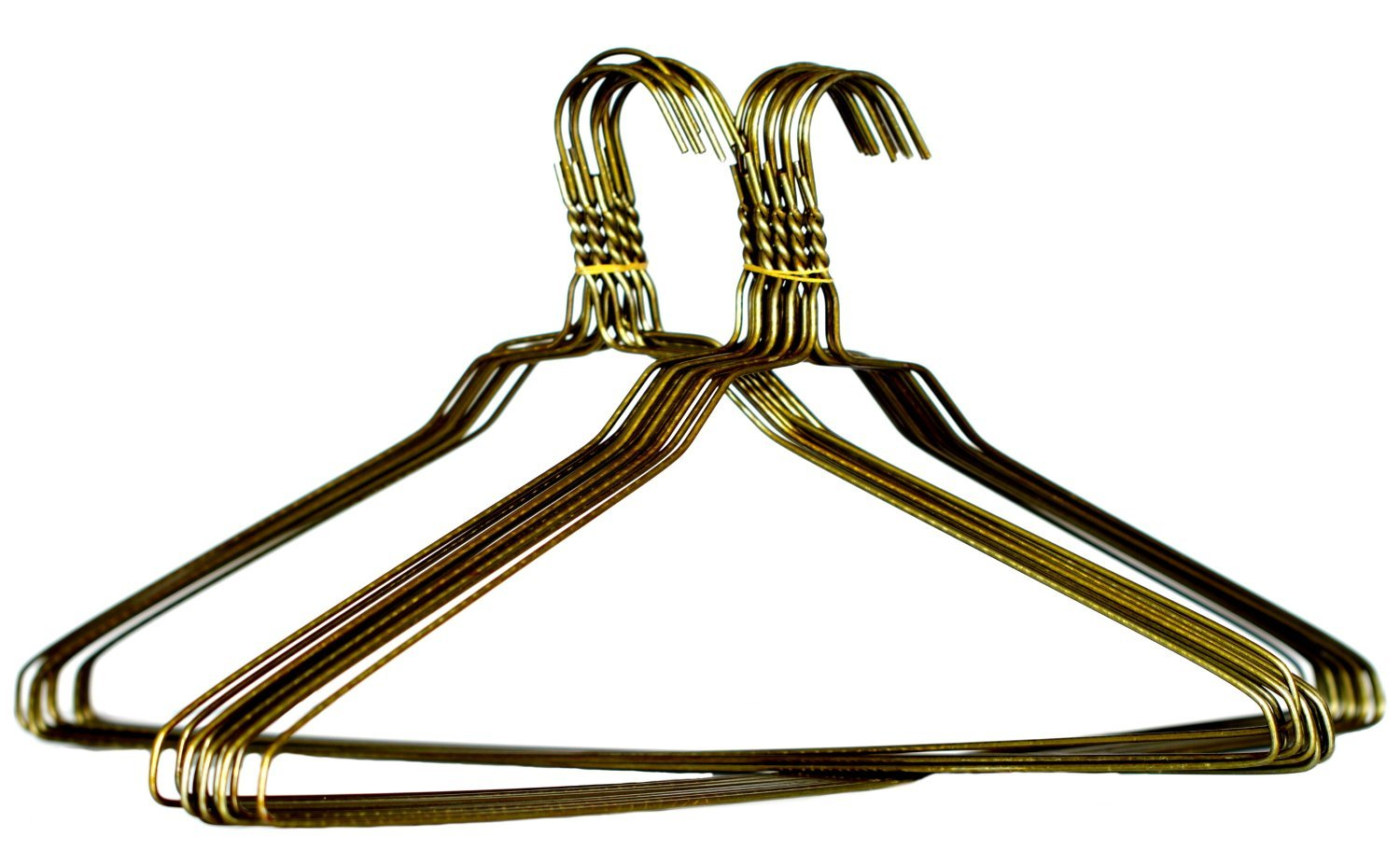 Briausa 50 Coat Hangers Jacket Heavy Duty 11 5 Gauge Metal Gold Wire 18 Inch Clothes