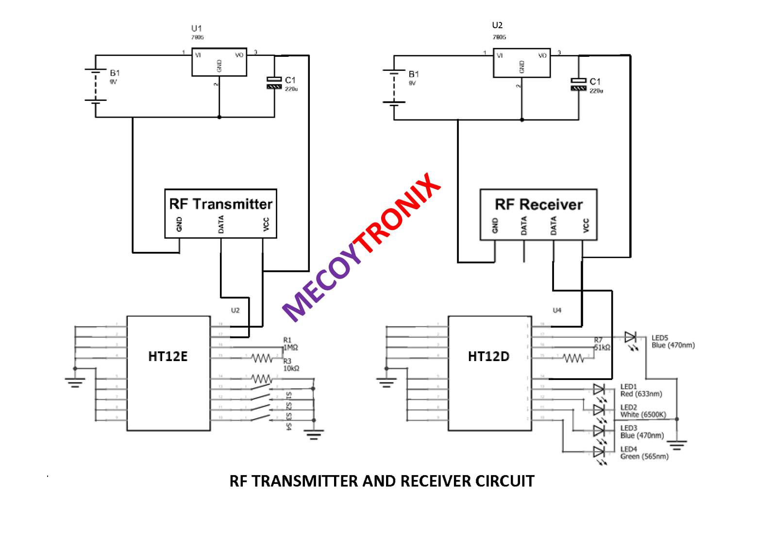 Mecoytronix Rf Transmitter Receiver Circuit Diagram And