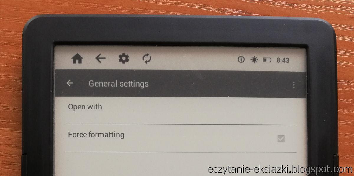 InkBOOK LUMOS – wymuszenie formatowania w aplikacji PocketBook Reader