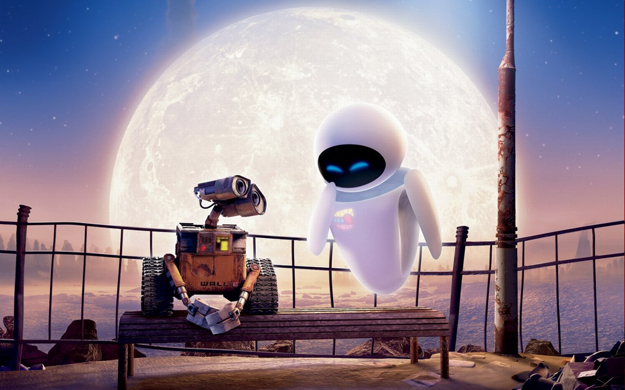 WALL-E with large moon in background animatedfilmreviews.filminspector.com