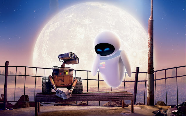 WALL-E with large moon in background
