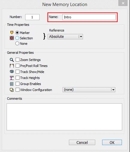 New Memory Location Window in Avid Pro Tools