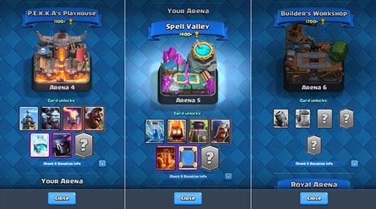 Naik Arena Level Clash Royale