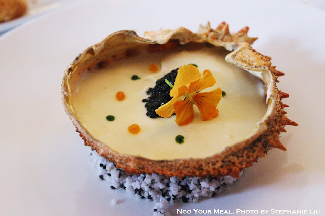 Spider Crab Jelly with Creamy Rock Crab and Herbs Infusion at Le Violon D'Ingres in Paris