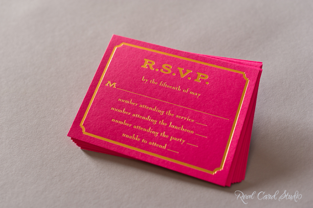 Gold foil on fuchsia pink card with fancy bevel border