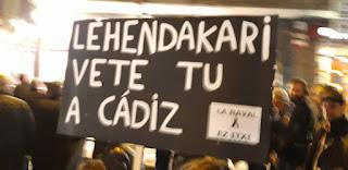 Cartel en la manifestación