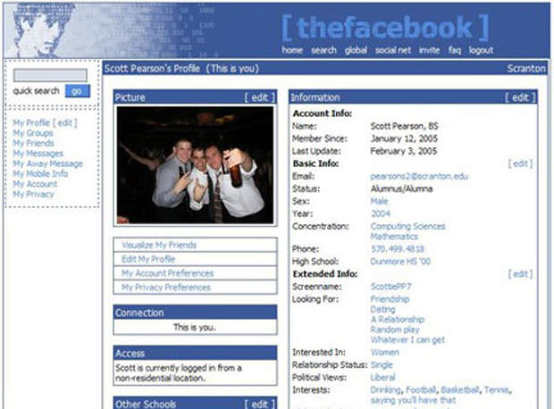 Evolusi Desain Facebook tahun 2005
