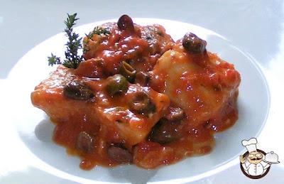 Baccalà in umido con olive.