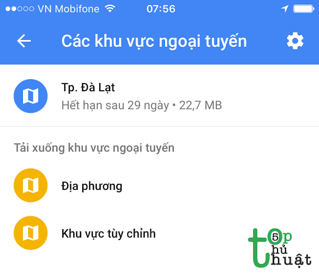 Thủ thuật sử dụng Google Maps không cần mạng trên điện thoại iPhone