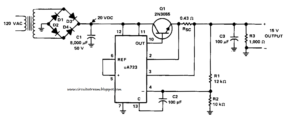 build a 15v 1 a regulated power supply circuit diagram. Black Bedroom Furniture Sets. Home Design Ideas