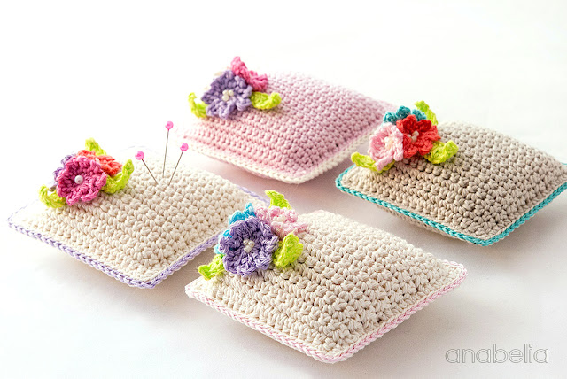 Small flowers crochet pincushion by Anabelia Craft Design