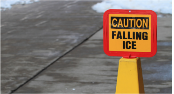 Caution sign signaling falling ice