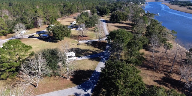 Buck Hall Campground viewed from the air via drone