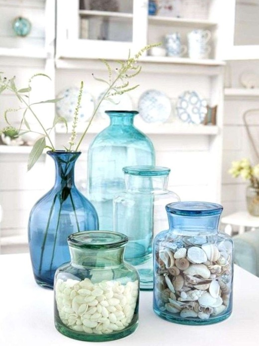 Aqua Blue Glass Jar Vases