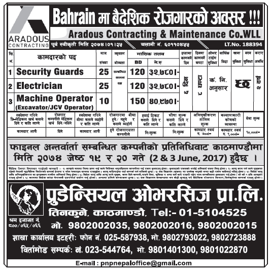 Jobs in Bahrain for Nepali, Salary Rs 40,970