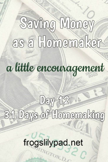Just a little encouragement to stop, look around, and find areas to help in Saving Money. What works for me won't work for you, but don't give up! Saving Money as a Homemaker can be done. frogslilypad.net