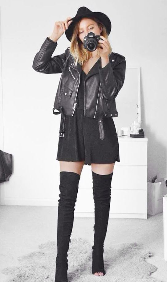 fashionable fall outfit / over knee boots + black romper + leather jacket + hat