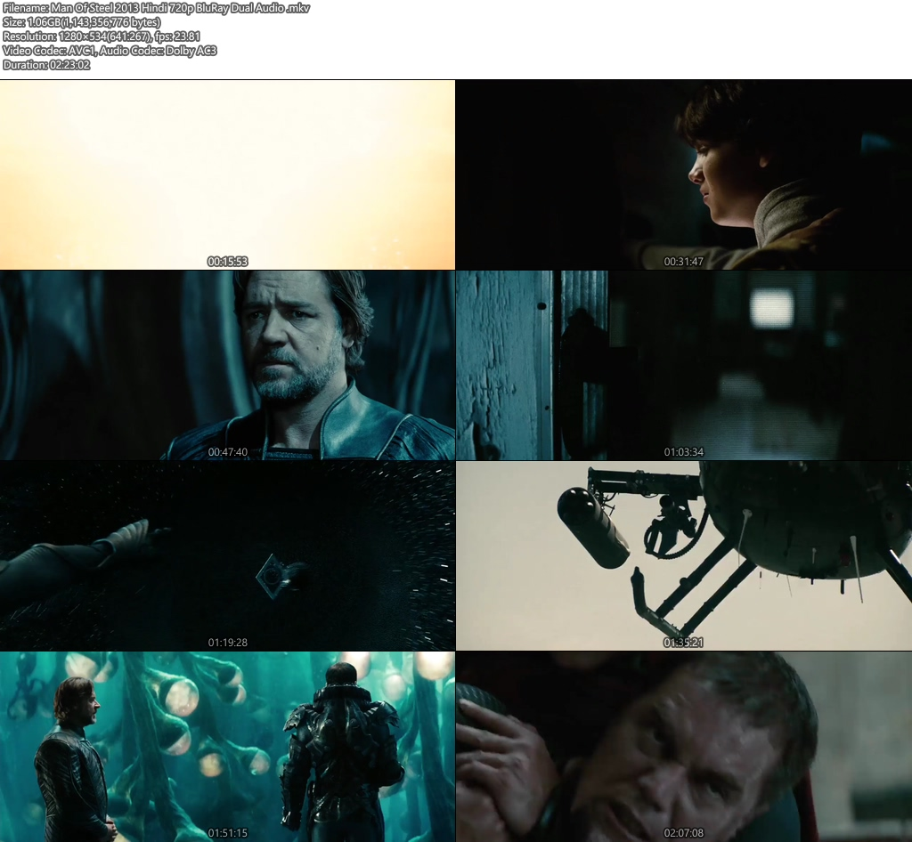 Man Of Steel 2013 Hindi 720p BluRay Dual Audio | 480p 300MB | 100MB HEVC Screenshot