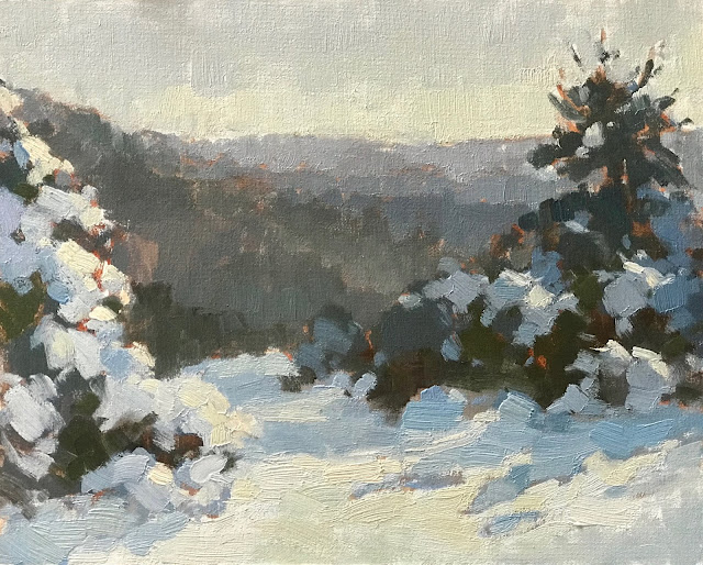 #440 'Gorse in Snow, The Punch Bowl' 24x30cm