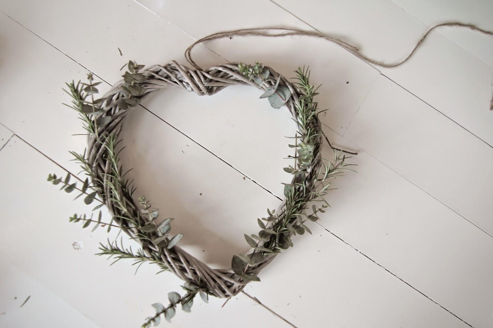A eucalyptus and rosemary wicker heart