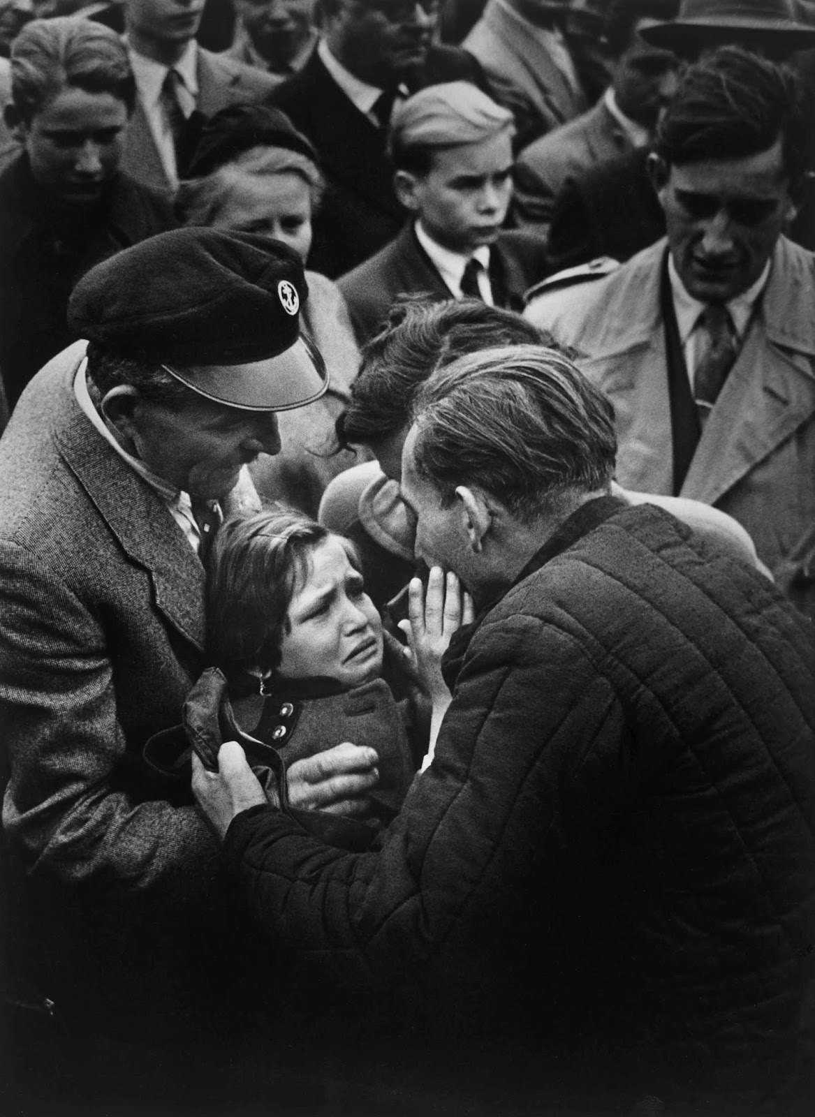 A German child meets her father for the first time, 1956.