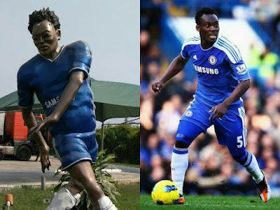 Statue and photo of Michael Essien