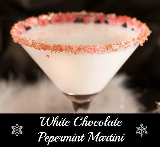 christmas cocktail, white chocolate peppermint martini, vanilla vodka, peppermint schnapps, Godiva white chocolate liqueur, candy canes, candy cane sugar