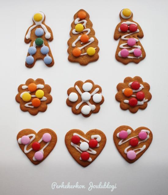 Kuva: Karkeilla koristeltuja piparkakkuja - malli