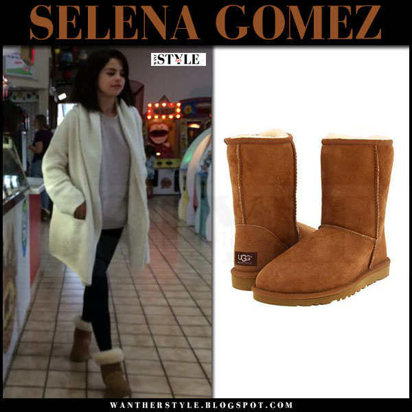 Selena Gomez in white cardigan and brown suede boots ugg chestnut what she wore