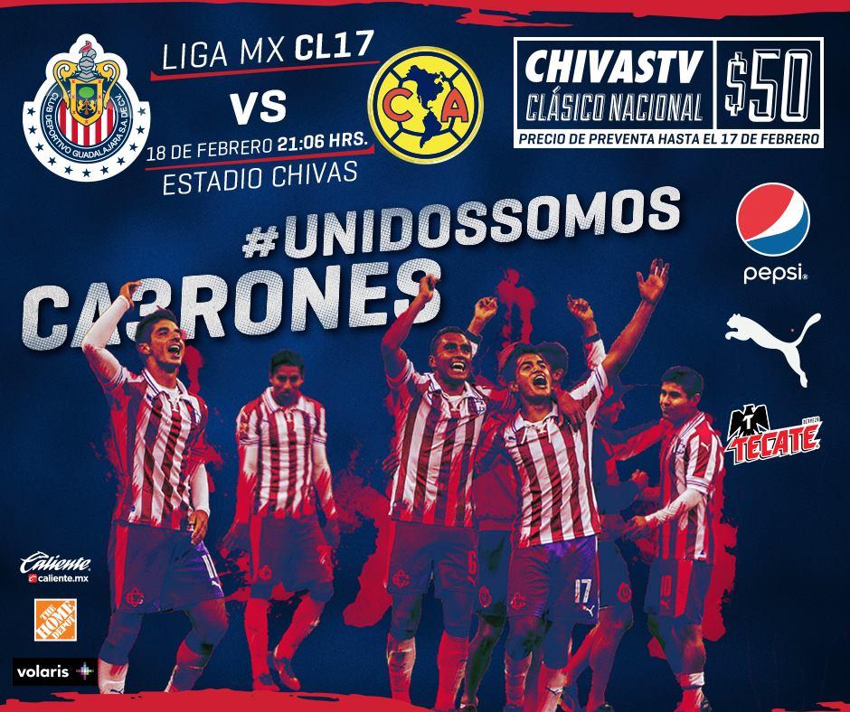 Chivas y Águilas se enfrentarán el próximo 18 de febrero.