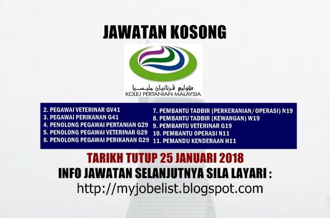 Jawatan Kosong Terkini di Kolej Pertanian Malaysia Januari 2018