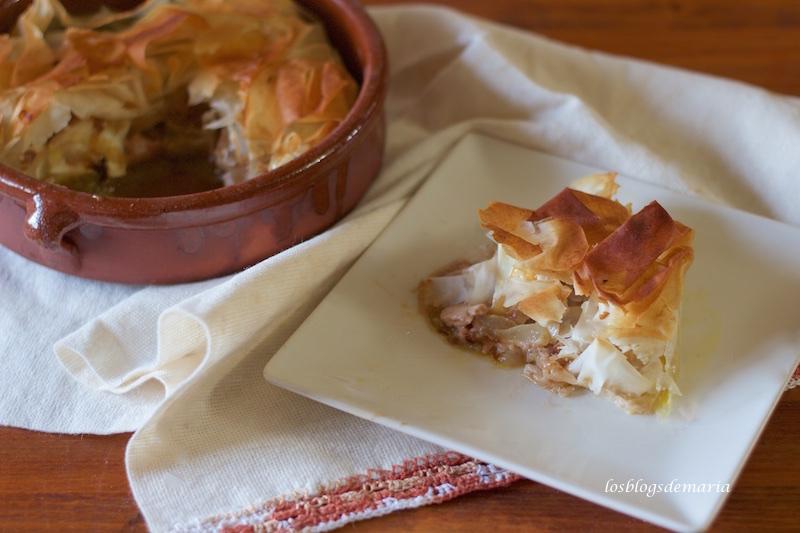 Tarta de pasta philo y foie