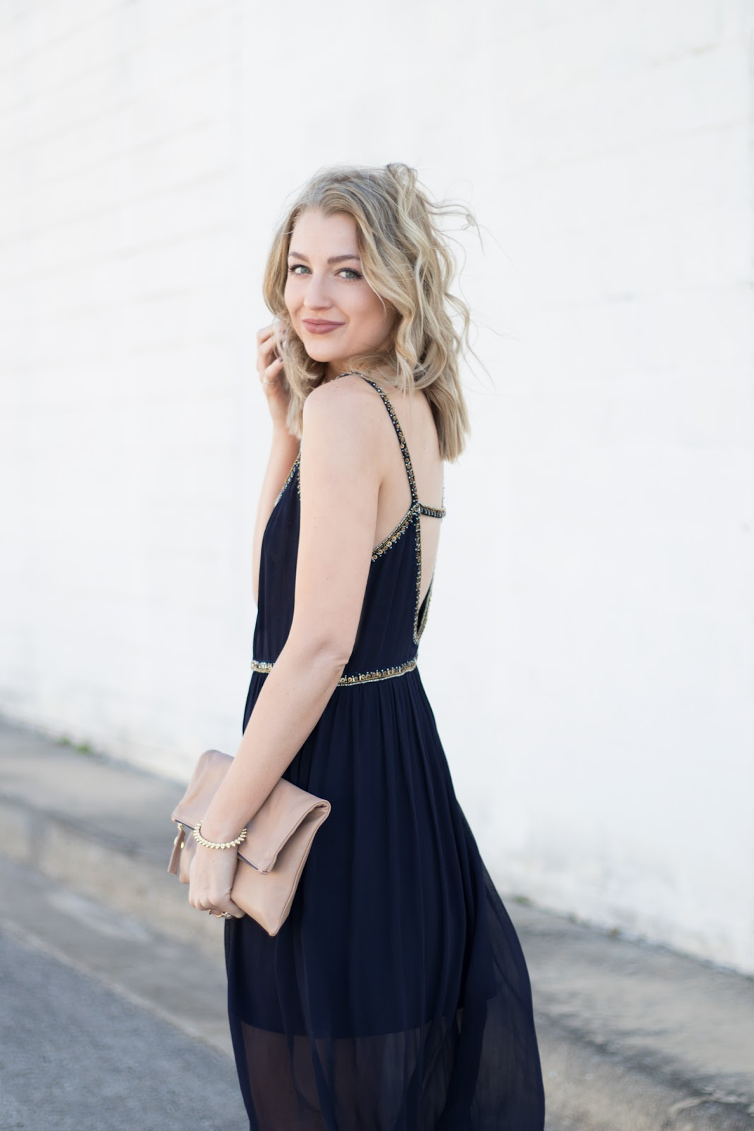 Strappy navy dress