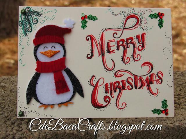 Handmade penguin Christmas card by CdeBaca Crafts.