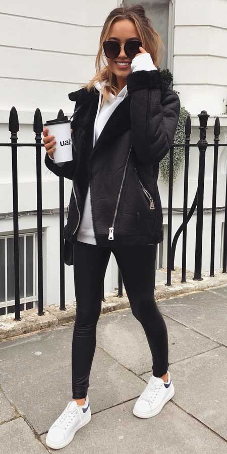 Black oversized aviator, Asos design hoodie, white black chunkey trainers | 21 womens winter jackets and winter fashion jackets to copy in your stylish winter outfits. Black winter jackets to White winter jackets. Warm Jacket fashion via higiggle.com #outfits #style #fashion #jackets
