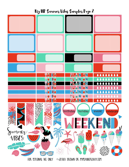 Free Printable Summer Vibes Sampler Page 2 for the Big Happy Planner from myplannerenvy.com