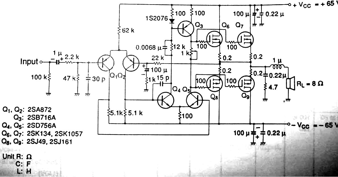 Wiring Schematic diagram: 100 Watt MOSFET Amplifier Circuit