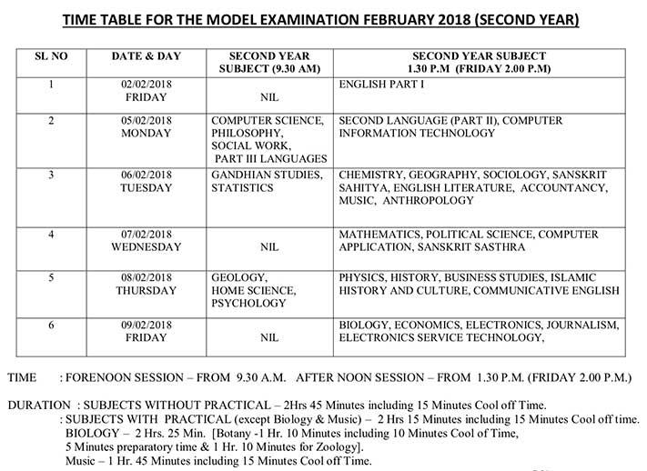 +2 model exam timetable 2018