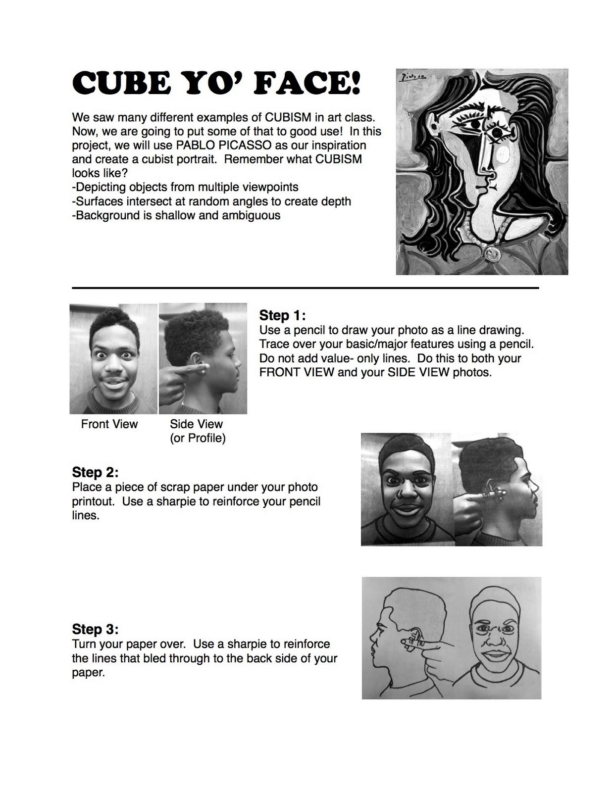 Project Art A Day Lesson Cube Yo Face Aka Picasso Portraits