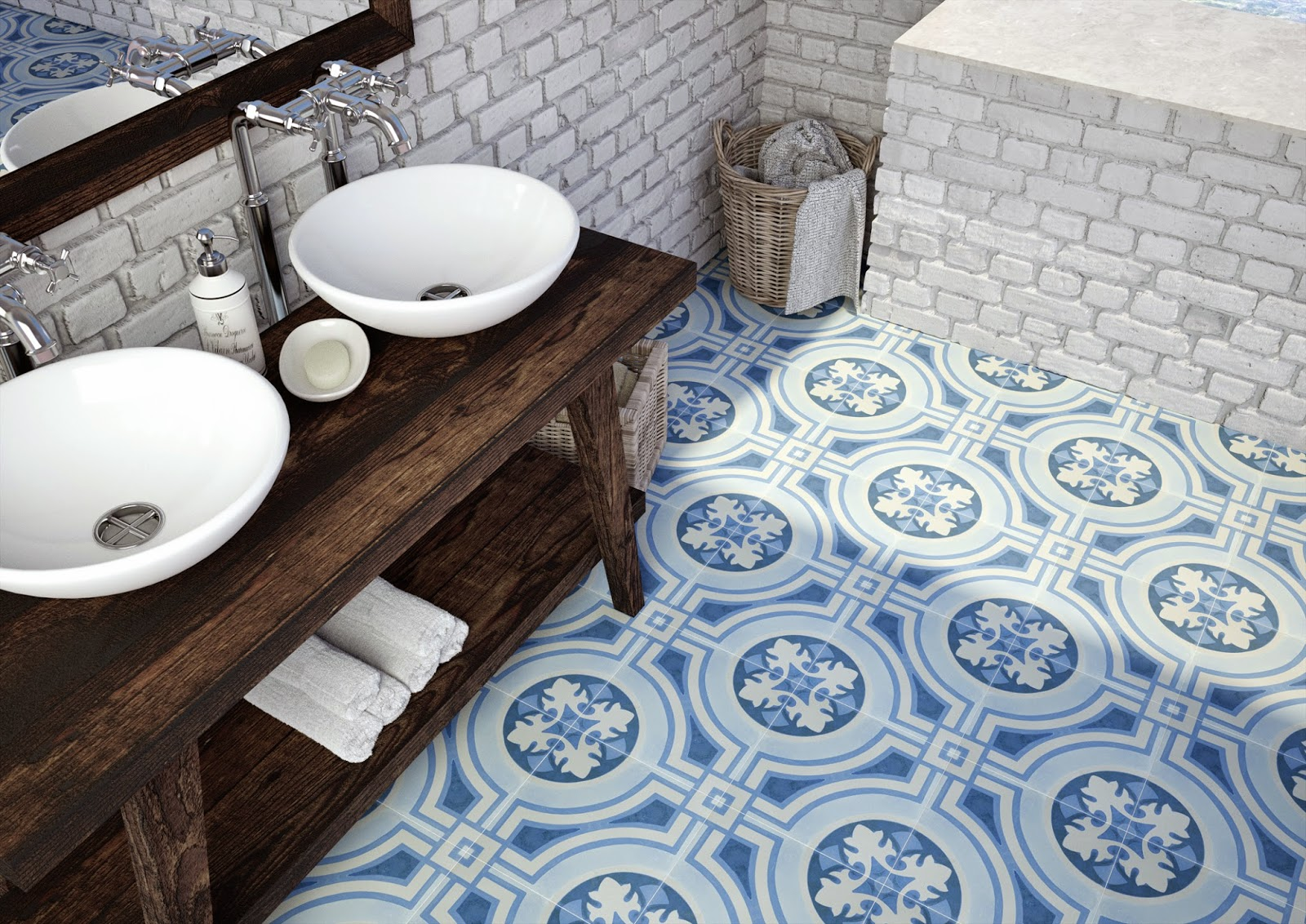 Apavisa's Hydraulic Blue pays homage to Classic Cement Tile Designs