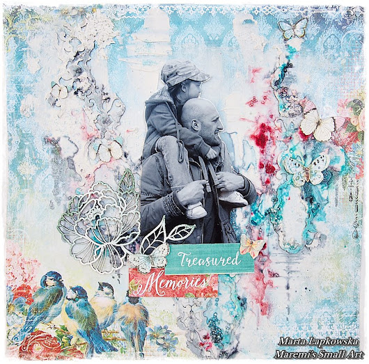 'Treasured Memories' by Marta Lapkowska / mixed media background tutorial