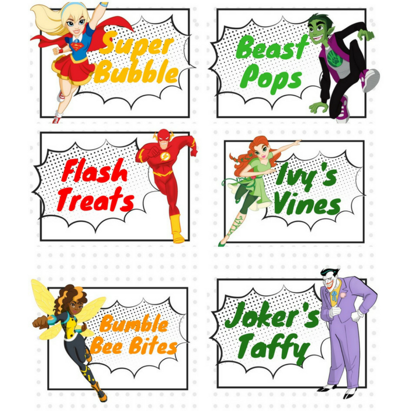 Free Printable DC Superhero Candy Bar Signs