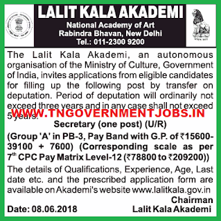 lalit-kala-acadmy-secretary-vacancy-notification-june-2018-tngovernmentjobs